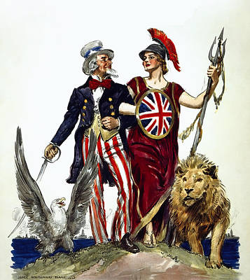 Britannia And Uncle Sam - Friends And Allies  1918 Poster by Daniel Hagerman