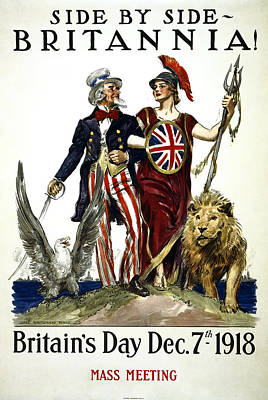 Britannia And United States - W W 1 Solidarity  1918 Poster by Daniel Hagerman