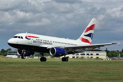 Poster featuring the photograph British Airways A318-112 G-eunb by Tim Beach