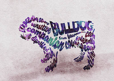 British Bulldog Watercolor Painting / Typographic Art Poster