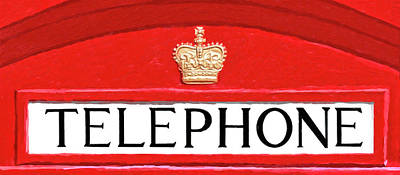 Poster featuring the mixed media British Telephone Box Sign by Mark Tisdale