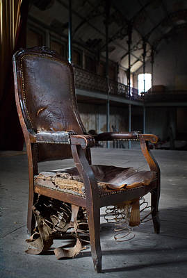broken chair deserted theatre - abandoned places Urbex Poster by Dirk Ercken