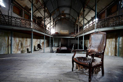 Broken Chair At Deserted Theatre - Abandoned Places Urban Explor Poster