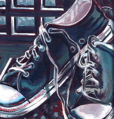 Poster featuring the painting Broken-in Converse by Shawna Rowe