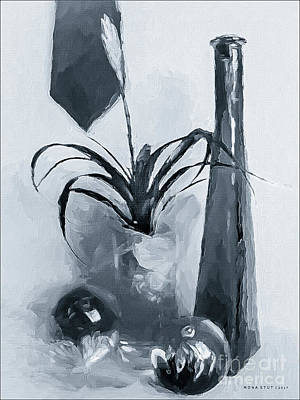 Bromeliad In Shades Of White Black Poster