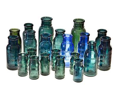 Bromo Seltzer Vintage Glass Bottles Collection Poster
