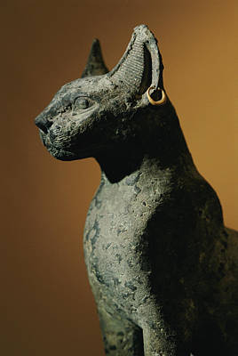 Bronze Statue Of Cat Representing Poster
