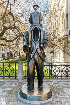Bronze Statue Of Franz Kafka In Prague, Czech Republic. Poster by Michal Bednarek