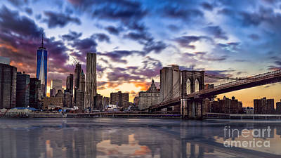 Brooklyn Bridge Manhattan Sunset Poster