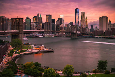 Brooklyn Bridge Over New York Skyline At Sunset Poster