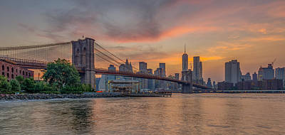Brooklyn Bridge Summer Sunset Poster by Scott McGuire