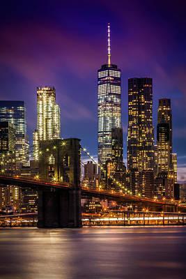 Brooklyn Bridge Sunset Above New York City Poster by Melanie Viola