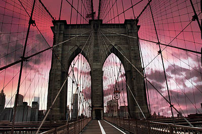 Brooklyn Bridge Sunset Silhouette Poster by Jessica Jenney