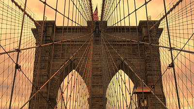 Brooklyn Bridge Sunset Poster by Stephen Stookey