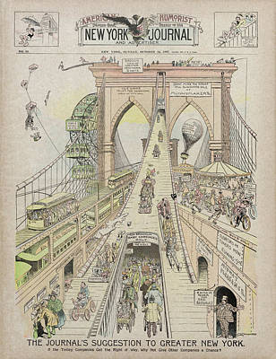 Poster featuring the photograph Brooklyn Bridge Trolley Right Of Way Controversy 1897 by Daniel Hagerman