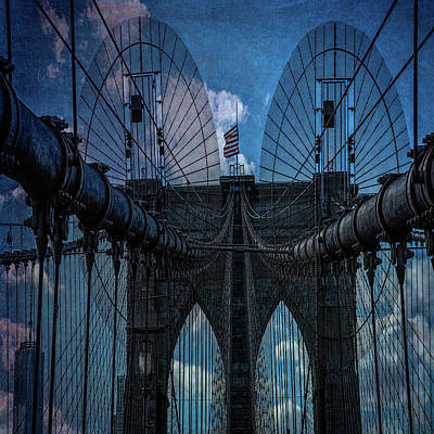 Poster featuring the photograph Brooklyn Bridge Webs by Chris Lord