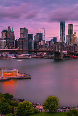 Brooklyn Bridge World Trade Center In New York City Poster