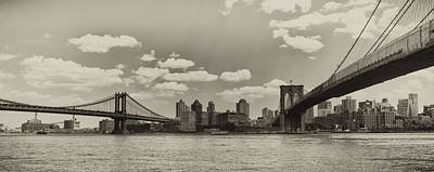 Brooklyn New York From Manhattan In Sepia Poster