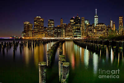 Brooklyn Pier At Night Poster by Az Jackson