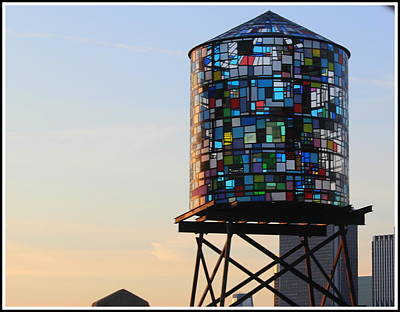 Brooklyn's Glowing Glass Water Tower - Public Art Poster
