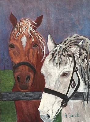 Brown And White Horses Poster