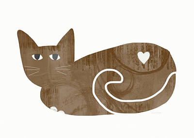 Brown Cat- Art By Linda Woods Poster