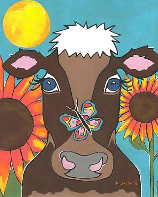 Brown Cow - Children Animal Art Poster