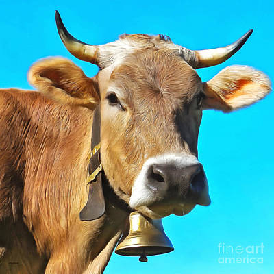 Brown Cow With Cowbell Portrait Pop Art Painterly 20170920 Square Poster