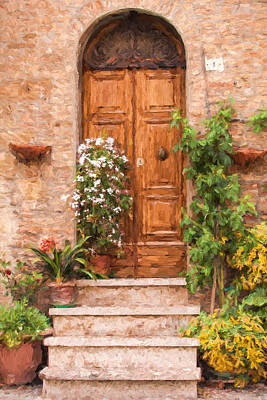 Brown Door Of Tuscany Poster by David Letts