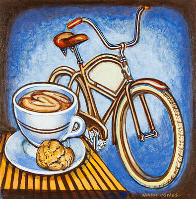 Brown Electra Delivery Bicycle Coffee And Amaretti Poster by Mark Jones