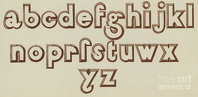 Brown Small Relief Font Poster by English School