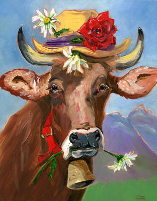 Poster featuring the painting Brown Swiss In Summer Hat by Susan Thomas