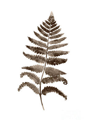 Fern Leaf Botanical Poster, Brown Wall Decor Modern Home Art Print, Abstract Watercolor Painting Poster