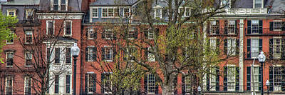 Poster featuring the photograph Brownstone Panoramic - Beacon Street Boston by Joann Vitali