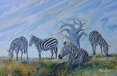 Poster featuring the painting Browsing Zebras by Anthony Mwangi