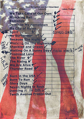 Bruce Springsteen Setlist At Rock In Rio Lisboa 2012 Poster by Marco Oliveira