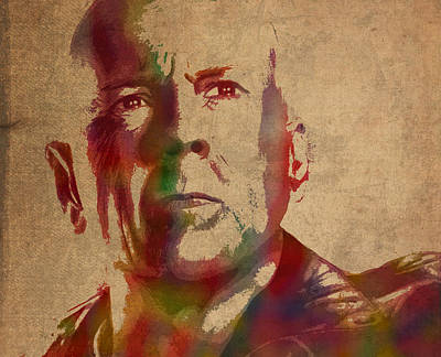Bruce Willis Watercolor Portrait Hollywood Actor On Worn Distressed Canvas Poster