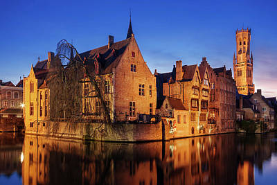 Poster featuring the photograph Bruges Architecture At Blue Hour by Barry O Carroll