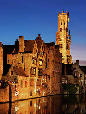 Poster featuring the photograph Bruges Belfry At Night by Barry O Carroll