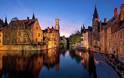 Poster featuring the photograph Bruges Canals At Blue Hour by Barry O Carroll