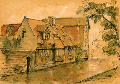 Bruges City Watercolor Poster by Juan  Bosco