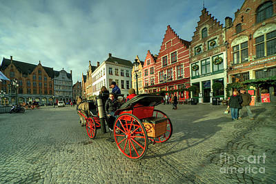 Brugge Grand Place Horse N Cart  Poster by Rob Hawkins