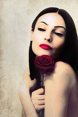Brunette With Red Rose. Poster by Anna Jonczyk