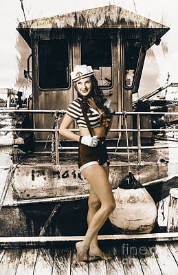 Brunette Wwii Pinup Lady Standing By Naval Boat Poster by Jorgo Photography - Wall Art Gallery