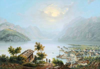 Brunnen At The Lake Lucerne Poster by Louis Bleuler