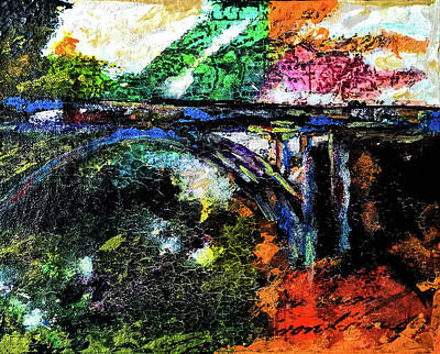 Poster featuring the mixed media Brush Creek Bridge by Lisa McKinney