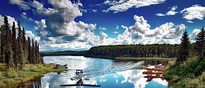 Brush Plane Landing On Fish Lake Alaska Poster by Mountain Dreams