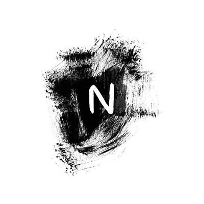 Brushtroke N -monogram Art By Linda Woods Poster