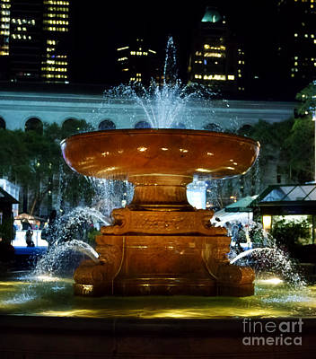 Bryant Park Fountain Poster by Terry Weaver