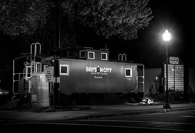 Bryson City  Caboose In Black And White Poster